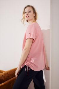 Roz & Ali Short Sleeve Side Tie Popover Blouse  - Plus - Mauve Glow - Back