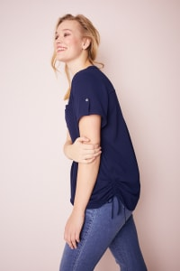 Roz & Ali Short Sleeve Side Tie Popover Blouse  - Plus - Navy - Back