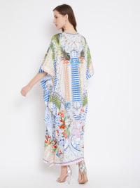 Digital Handmade Printed Kaftan Dress - White - Back