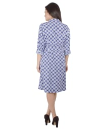 3/4 Roll Tab Sleeve Belted Shirtdress - Back