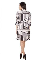 3/4 Sleeve Roll Tab Shirtdress With Belt - Tan Linetrek - Back