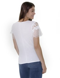 Short Point De Sprit Sleeve Top With Crochet Detail And Knotted Hem - Petite - White Mixcombo - Back