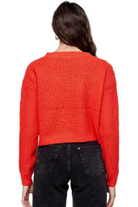 Kaii Waffle Knitted Cropped Sweater Top - Coral - Back