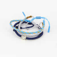 Jean Claude Tibetan Lucky Knots Multi-colored Set of 3 Bracelets - Blue / Navy - Back