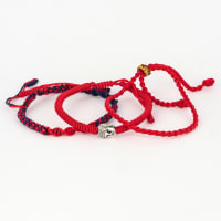 Jean Claude Triple Set of Handmade Knitted Tibetan Buddha Spiritual Red Black Bracelets & Bangles - Adjustable 20-21.10 Cm - Red / Black - Back