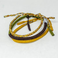 Jean Claude  Triple Set of Handmade knitted Tibetan Buddha Spiritual Multi Color Bracelets & Bangles adjustable 20-21.10 cm - Multi - Back
