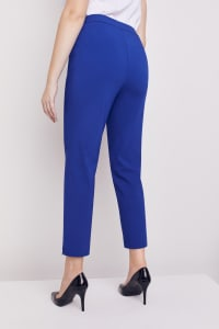 Roz & Ali Super Stretch Tummy Control Pant with Cat Eye Pockets and Ankle Slit - Misses - Marine Blue - Back