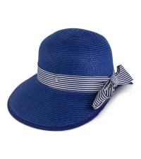 Jones NY Straw Striped Ribbon Garden Hat - Navy - Back
