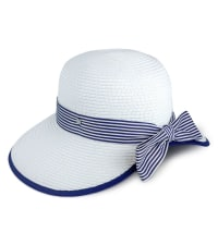Jones NY Straw Striped Ribbon Garden Hat - White - Back