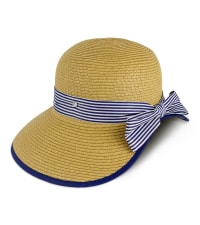 Jones NY Straw Striped Ribbon Garden Hat - Toast - Back