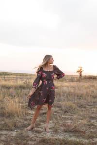 Virginia Embroidered Hi-Low Peasant Dress - Misses - Back