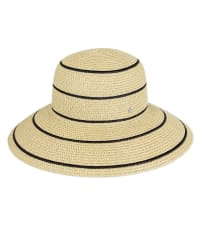 Jones NY Striped Straw Bucket Hat - Natural / Black - Back