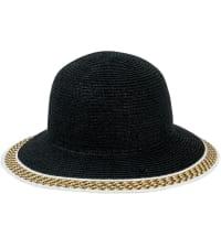 Jones NY Straw Bucket Hat W/ Braided Pattern Border - Black - Back