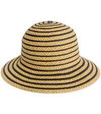 Jones NY Striped Two Tone Straw Bucket Hat - Black - Back