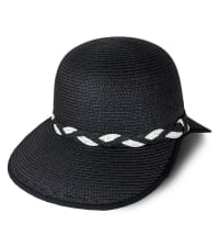 Braided Crown Trim Straw Garden Hat - Black - Back