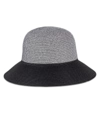Contrast Brim Straw Bucket Hat - Black - Back