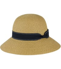 Stitch Ribbon Bow Straw Bucket Hat - Back