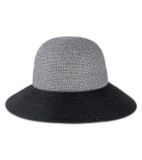 Solid Color Straw Bucket Hat - Back