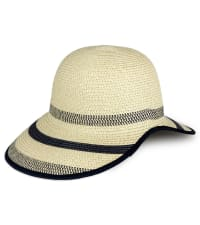 Striped Two Tone Open Back Straw Garden Hat - Natural - Back
