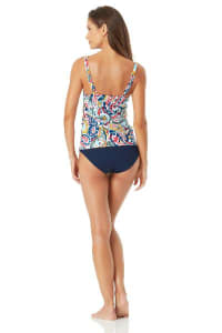 Anne Cole Under Wire Twist Front Tankini Top - Multi - Back