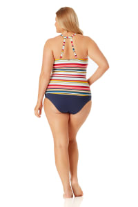 Anne Cole High Neck Tankini Top - Plus - Multi - Back