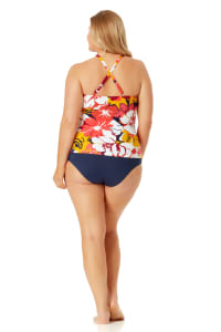 Anne Cole High Neck Beaded Tankini Top - Plus - Multi - Back