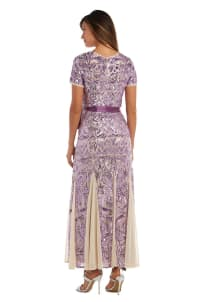 Sequin Embellished Gown With Short Sleeves And Satin Sash - Back