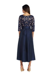 High Low Dress With Lace And Sequin Top And Satin Finish Voluminous Skirt - Back