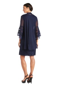 Chiffon Jacket And Dress With Bell Sleeves - Back