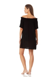 Anne Cole Smocked Off Shoulder Mini Dress - Black - Back