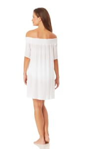 Anne Cole Smocked Off Shoulder Mini Dress - White - Back