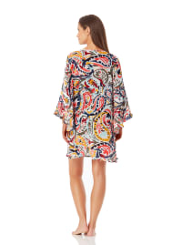 Anne Cole Flounce V Neck Tunic Cover-Up - Multi - Back