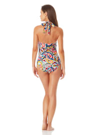 Anne Cole Ring High Neck One Piece - Multi - Back