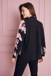 Roz & Ali Placement Print Blouse - Blush/Ivory/Black - Back