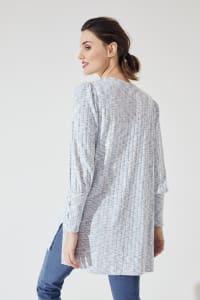 Westport Lace-Up Sleeve Cardigan Duster - Blue Multi - Back