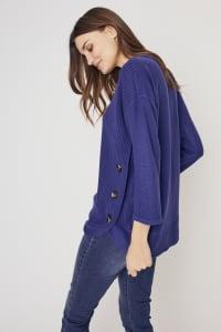 Westport Curved Hem Tunic Sweater - Navy - Back