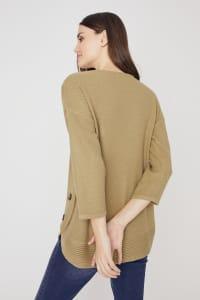 Westport Curved Hem Tunic Sweater - Olive - Back