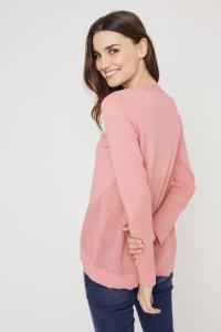 Roz & Ali Pointelle Hi/Lo Tunic Sweater - Pink Guava - Back