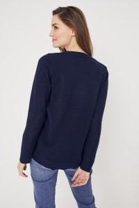 Roz & Ali Pointelle Hi/Lo Tunic Sweater - Navy - Back