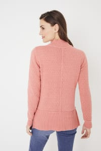 Roz & Ali Crochet Tunic Sweater - Misses - Coral - Back