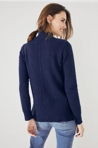 Roz & Ali Crochet Tunic Sweater - Misses - Navy - Back