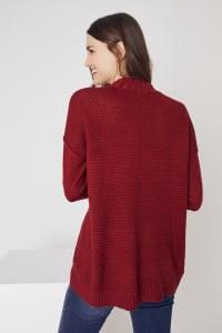 Westport Mixed Stitch Pullover Sweater - Brick Red - Back