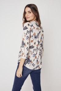 Roz & Ali Floral Jacquard Pintuck Popover - Misses - Taupe/Black - Back