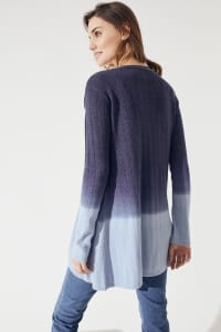 Westport Dip Dye Pointelle Cardigan - Misses - Navy Combo - Back