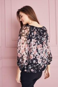 Roz & Ali Floral Border Bubble Hem Top - Misses - Black/Blush/Mint - Back