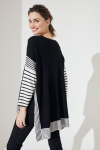 Roz & Ali Colorblock Stripe Poncho - Misses - Black/White - Back