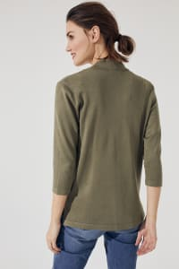 Roz & Ali 3/4 Sleeve Scallop Trim Cardigan - Antique Olive - Back