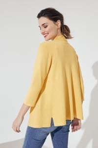 Roz & Ali 3/4 Sleeve Scallop Trim Cardigan - Corn Silk - Back