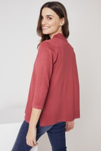Roz & Ali Scallop Trim Cardigan - Earth Red - Back