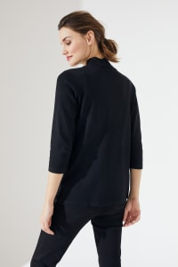 Roz & Ali 3/4 Sleeve Scallop Trim Cardigan - Pitch Black - Back